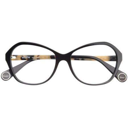 Czarne damskie kocie okulary z tworzywa WOOW HAPPY HOUR 1 100