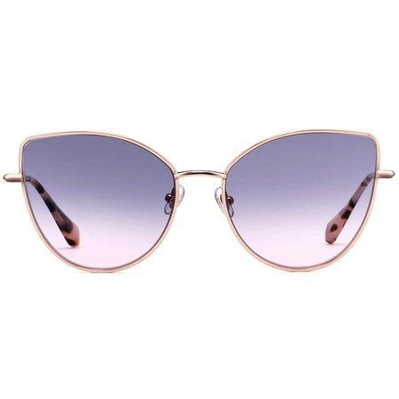 Gigi Studios okulary przeciwsłoneczne złote kocie oczy gradalnie barwionymi szkłami