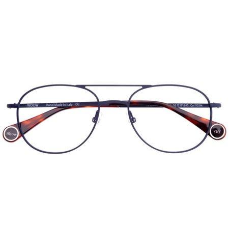Granatowe, damskie okulary z metalu, w modnym kształcie pilotek WOOW SHOW OFF 2 933M
