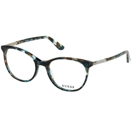 Guess piękne owalne damskie okulary z turkusowymi refleksami GU 2657 089