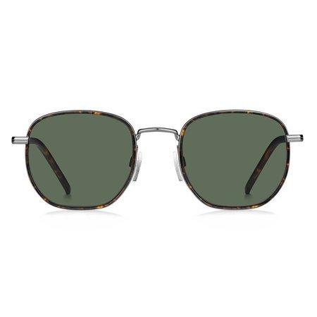 Tommy Hilfiger metalowe okulary przeciwsłoneczne srebrne, z zielonymi soczewkami